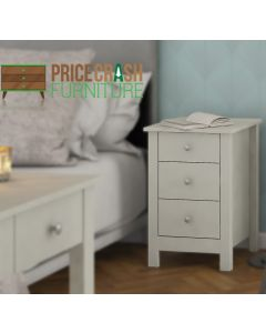 Florence 3 Drawer Bedside In Soft Grey at Price Crash furniture