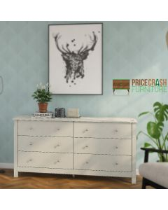 Florence 3+3 Drawer Chest In Soft Grey at Price Crash Furniture