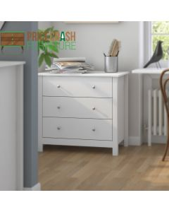 Florence Shaker Style 3 Drawer Chest Of Drawers in White