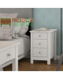 Florence 3 Drawer Shaker Style Bedside Table in White