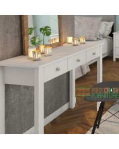 Florence Shaker Style Dressing Table / Desk with 3 Drawers in White