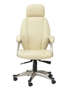 Alphason Bentley Leather Executive Chair In Cream