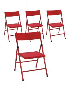 4-Pack - Safety First by COSCO Children's Pinch-Free Folding Chair Red