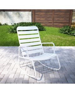 Novogratz Roberta Rocker Chair for Garden + Conservatory, White