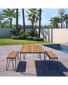 3 Piece Garden Set Novogratz Paulette Picnic Table + 2 Benches Grey