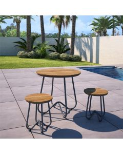 3 Piece Garden Bistro Set, Novogratz Bobbi, Charcoal Grey