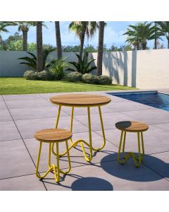 3 Piece Garden Bistro Set, Novogratz Bobbi, Yellow