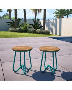 2-pack Novogratz Bobbi Bistro Stools for Garden and Home, Turquoise