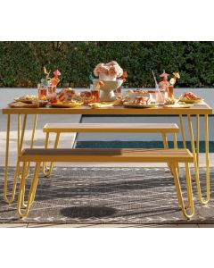 3 Piece Garden Set Novogratz Paulette Picnic Table + 2 Benches Yellow
