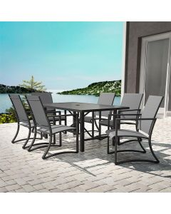 7 Piece Outdoor Dining Set, Capitol Hill 6 Chairs + Table, Grey + Charcoal, COSCO Outdoor