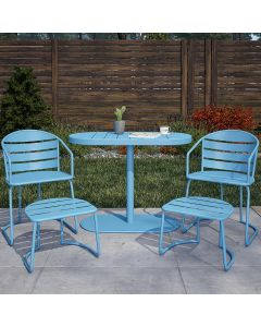 5 Piece Bistro Set, Metro-Retro Turquoise, INTELLIFIT, Cosco Outdoor Living