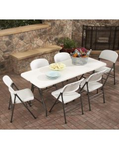 Indoor Outdoor Deluxe 6 ft x 30 inch Fold-in-Half Table White by COSCO