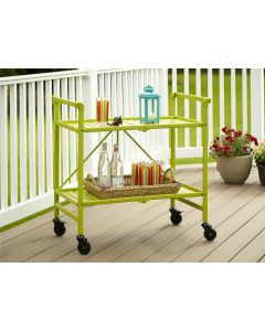 Intellifit Folding Drinks Trolley in Apple Green with 2 Shelves Indoor Outdoor. Cosco.