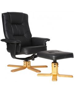 Alphason Drake Faux Leather Recliner Chair with Footstool in Black