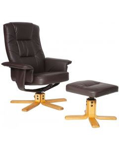 Alphason Drake Faux Leather Recliner Chair with Footstool in Brown at Price Crash Furniture
