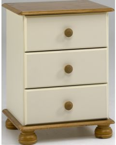 Steens Richmond Cream & Pine 3 Drawer Bedside Table / Cabinet