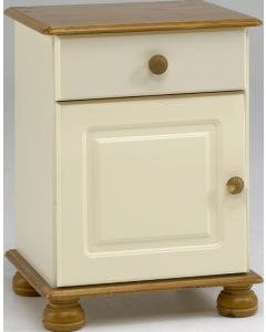 Steens Richmond Cream & Pine 1 Drawer 1 Door Bedside Table / Cabinet