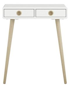 Steens Soft Line Retro Style Hall / Console Table In White.