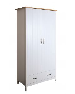 Steens Norfolk Solid Painted Grey & Oak Panelled 2 Door Drawer Wardrobe Wood