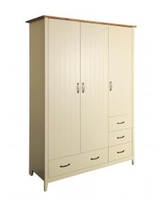 Steens Norfolk 3 Door 4 Drawer Wardrobe In Cream And Pine
