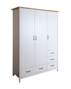 Steens Norfolk Solid Painted Grey & Pine 3 Door 4 Drawer Wardrobe