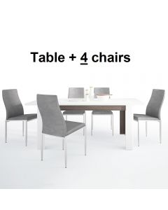 Dining Set Package Chelsea Living Extending Dining Table + 4 Milan High Back Chair Gray