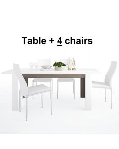 Dining Set Package Chelsea Living Extending Dining Table + 4 Milan High Back Chair White.