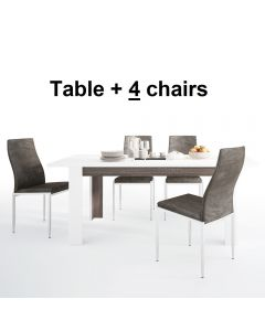 Dining Set Package Chelsea Living Extending Dining Table + 4 Milan High Back Chair Dark Brown