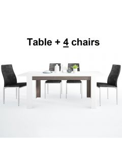 Dining Set Package Chelsea Living Extending Dining Table + 4 Milan High Back Chair Black