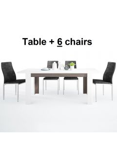 Dining Set Package Chelsea Living Extending Dining Table + 6 Milan High Back Chair Black