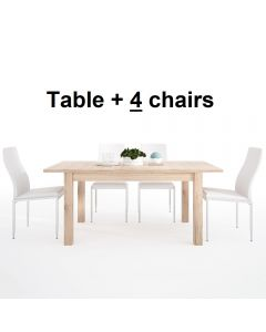 Dining Set Package Kensington Extending Dining Table + 4 Milan High Back Chair White