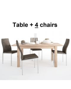 Dining Set Package Kensington Extending Dining Table + 4 Milan High Back Chair Dark Brown