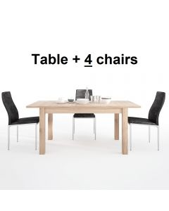 Dining Set Package Kensington Extending Dining Table + 4 Milan High Back Chair Black