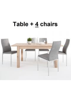 Dining Set Package Kensington Extending Dining Table + 4 Milan High Back Chair Grey