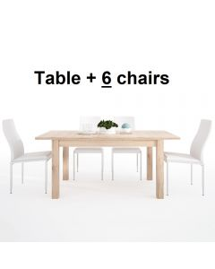 Dining Set Package Kensington Extending Dining Table + 6 Milan High Back Chair White