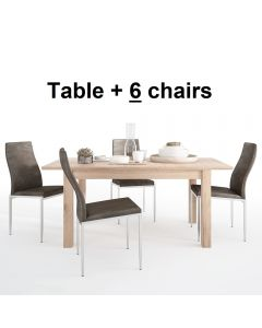 Dining Set Package Kensington Extending Dining Table + 6 Milan High Back Chair Dark Brown
