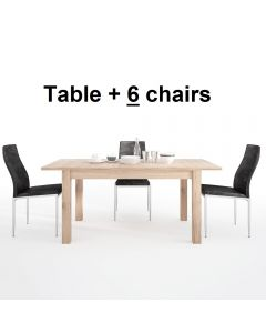 Dining Set Package Kensington Extending Dining Table + 6 Milan High Back Chair Black