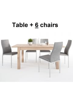 Dining Set Package Kensington Extending Dining Table + 6 Milan High Back Chair Grey