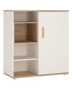 4 Kids Low Cabinet with Shelves & Sliding Door Inn Light Oak & High Gloss White Finish