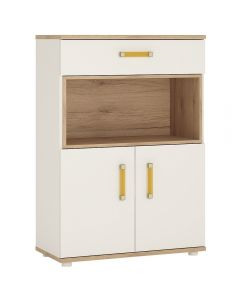 4 Kids 2 Door 1 Drawer Cupboard with Open Shelf in Light Oak & White High Gloss