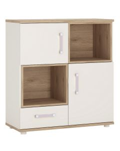 4KIDS 2 door 1 drawer cupboard with 2 open shelves in light oak and white high gloss with lilac handles