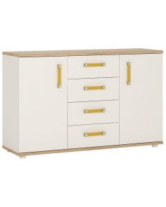 4 Kids 2 Door 4 Drawer Sideboard in Light Oak and white High Gloss