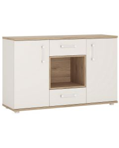4KIDS 2 door 2 drawer sideboard with open shelf in light oak and white high gloss with opalino handles
