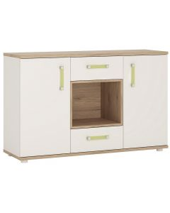 4KIDS 2 door 2 drawer sideboard with open shelf in light oak and white high gloss with lemon handles
