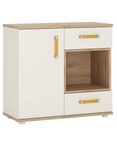 4 Kids 1 Door 2 Drawer Cabinet with Open Shelf in Light Oak & White High Gloss