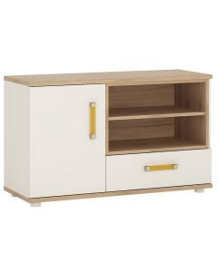 4 Kids 1 Door 1 Drawer TV / HI FI Cabinet in Light Oak & White High Gloss