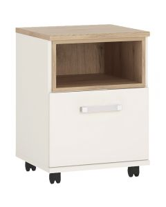 4KIDS 1 door desk mobile in light oak and white high gloss with opalino handles