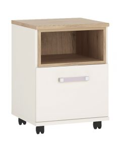 4KIDS 1 door desk mobile in light oak and white high gloss with lilac handles