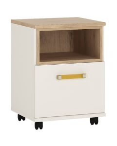4 Kids 1 Door Mobile Desk Drawer Pedestal in Light Oak and White High Gloss