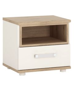 4KIDS 1 Drawer Bedside Cabinet In Light Oak And White High Gloss With Opalino Handles